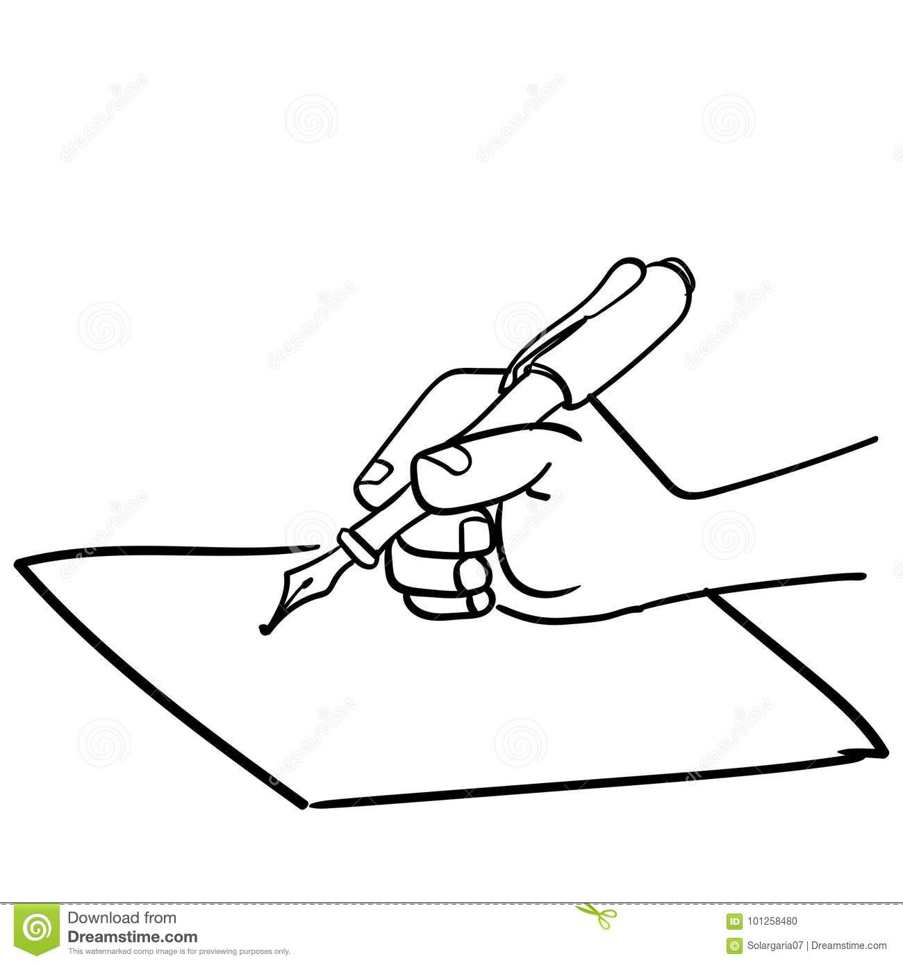 Cartoon Hand writing with pen-Vector drawn