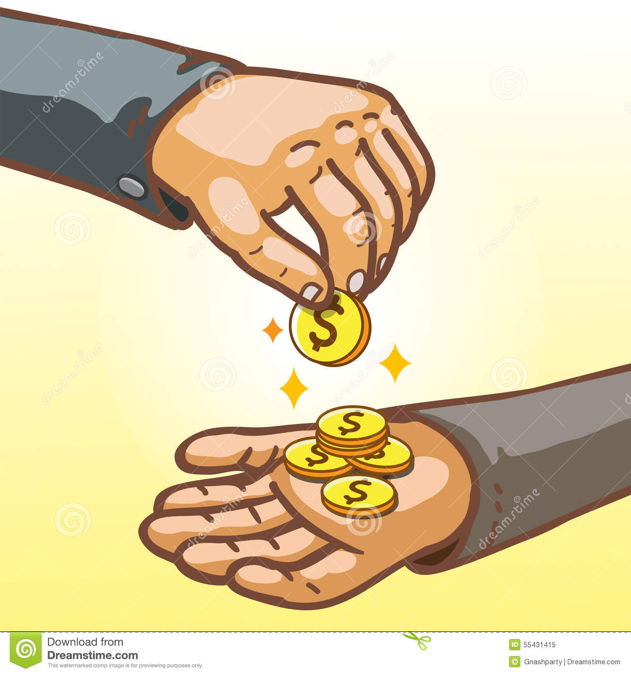 ... Hands Giving And Receiving Money Stock Vector - Image: 55431415