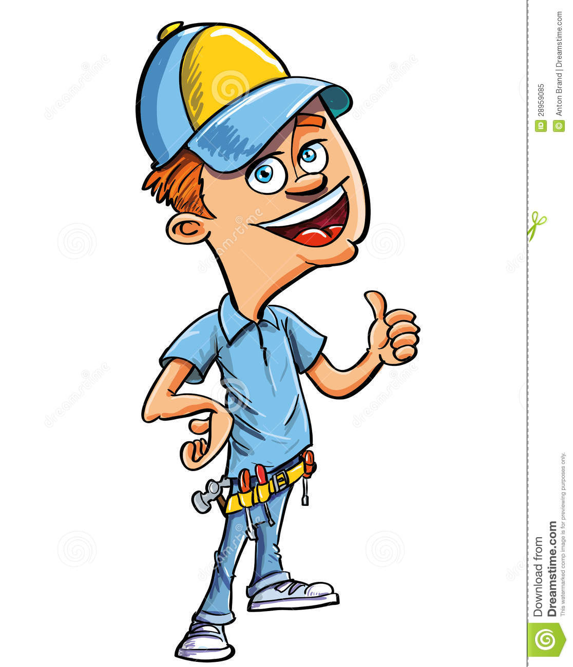 Cartoon Handyman Giving A Thumbs Up Royalty Free Stock