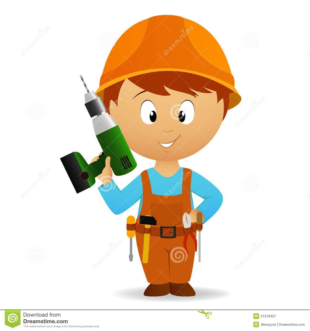 Cartoon handyman with drill and goggles vector - Clipart bricolage ...