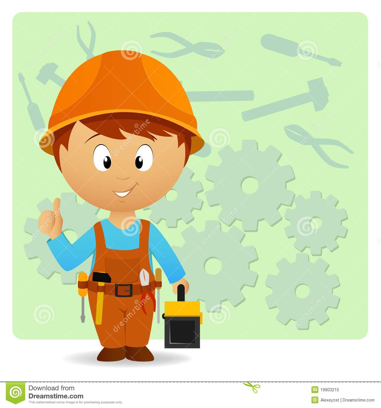 Cartoon Handyman With Tools On Industry Background Royalty
