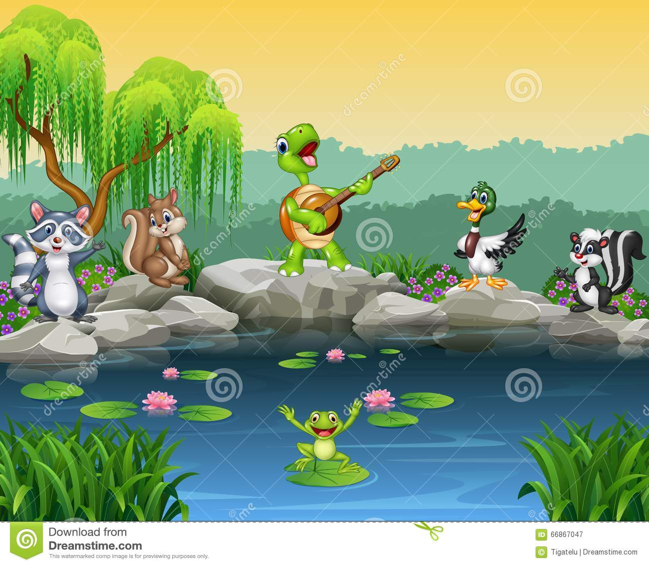 Animals Singing At The Riverbank Cartoon Vector