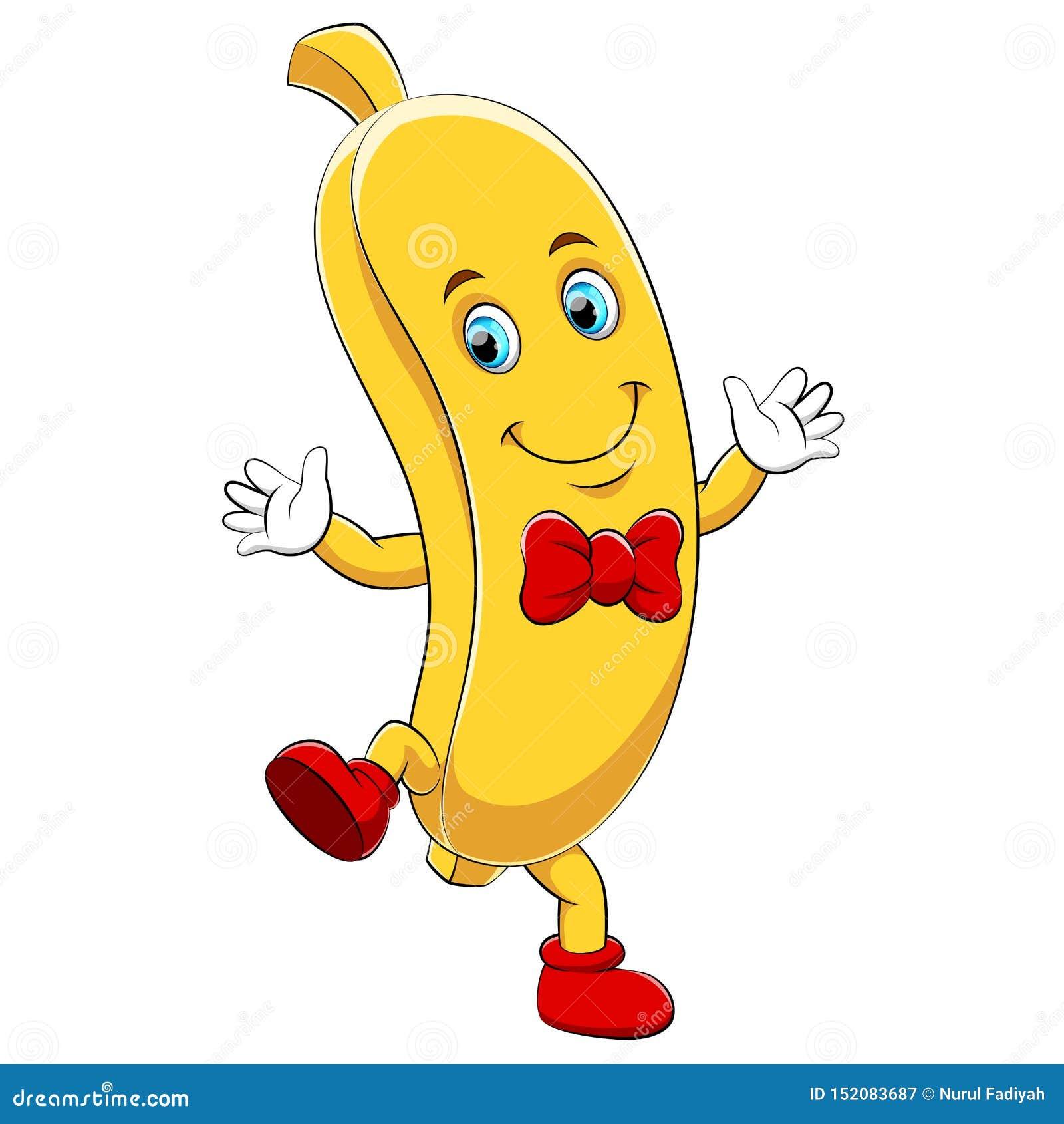 A cartoon happy banana character