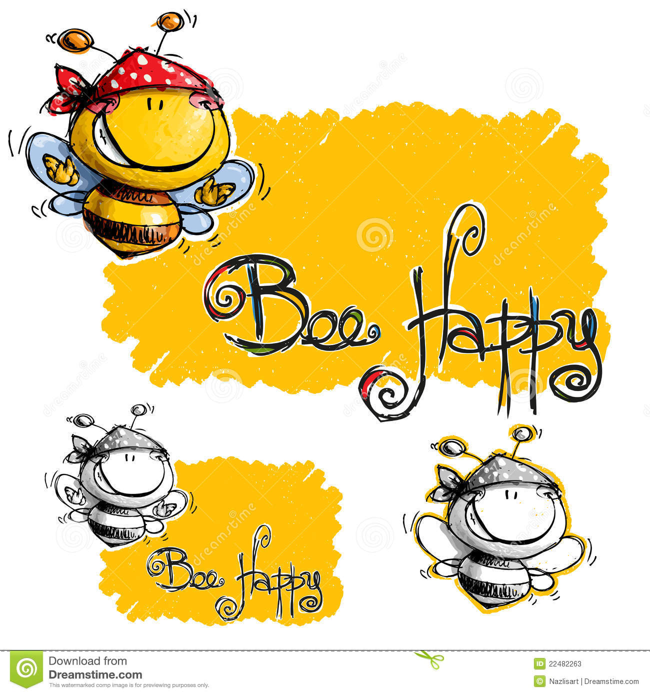 Stock Photos Cartoon Happy Bee With Spotted Bandana