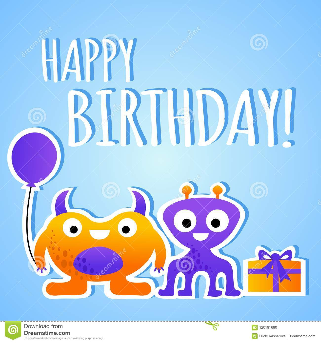 Funny Cartoon Colorful Birthday Greeting Card For Children With Monster Characters