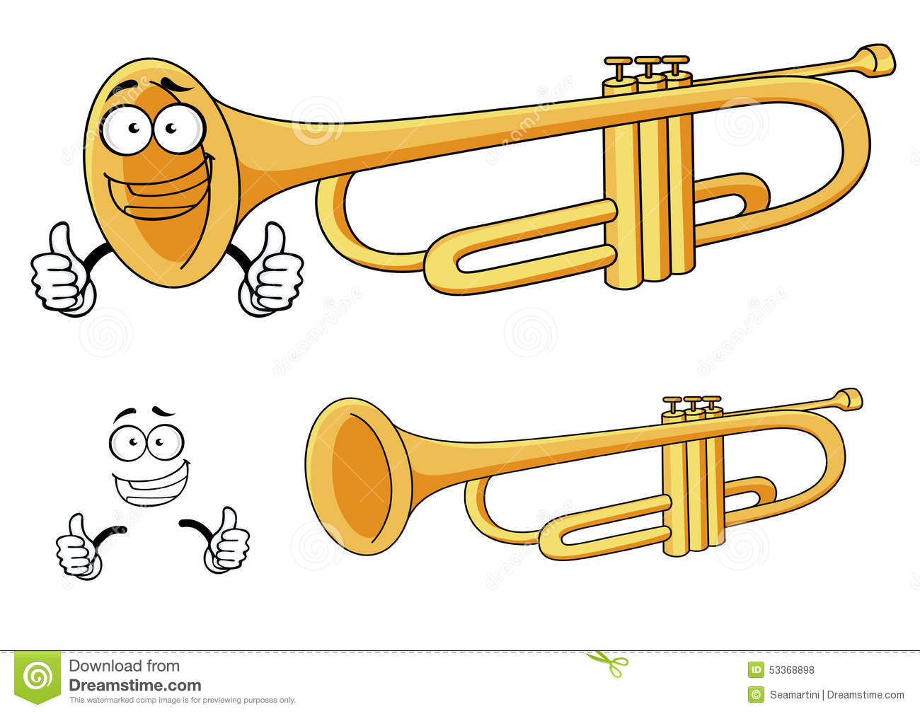 Happy smiling brass trumpet cartoon character depicting a rounded wind ...