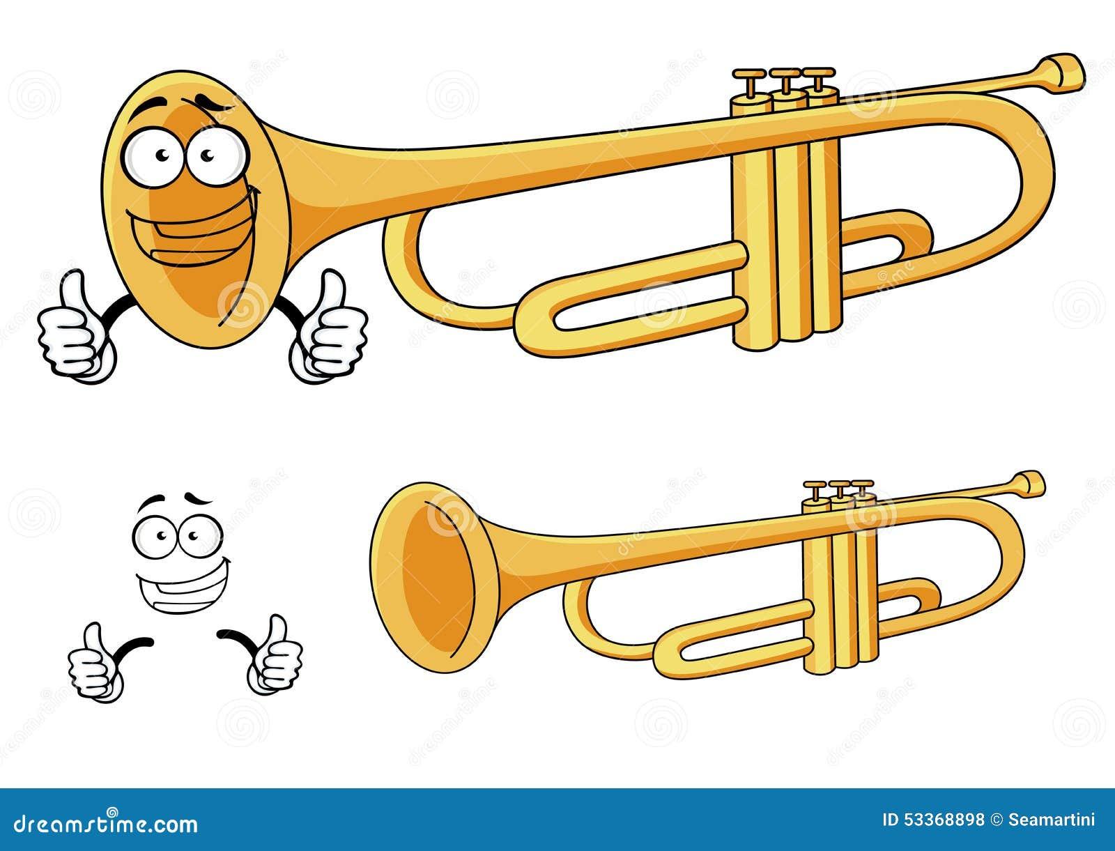 Cartoon Happy Classic Brass Trumpet Character Stock Vector