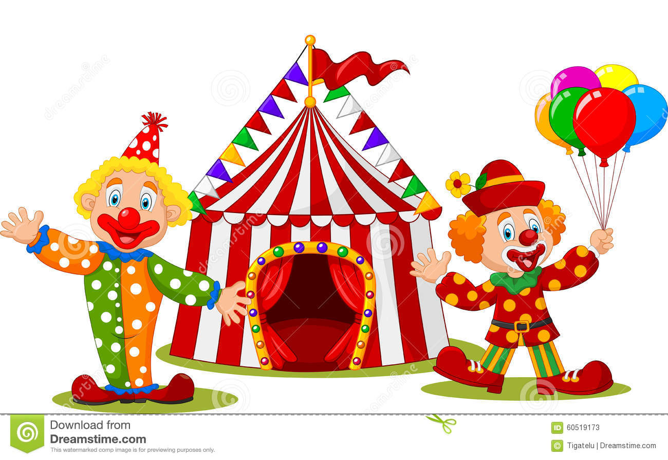 Cartoon Happy Clown In Front Of Circus Tent Stock Vector - Image: 60519173