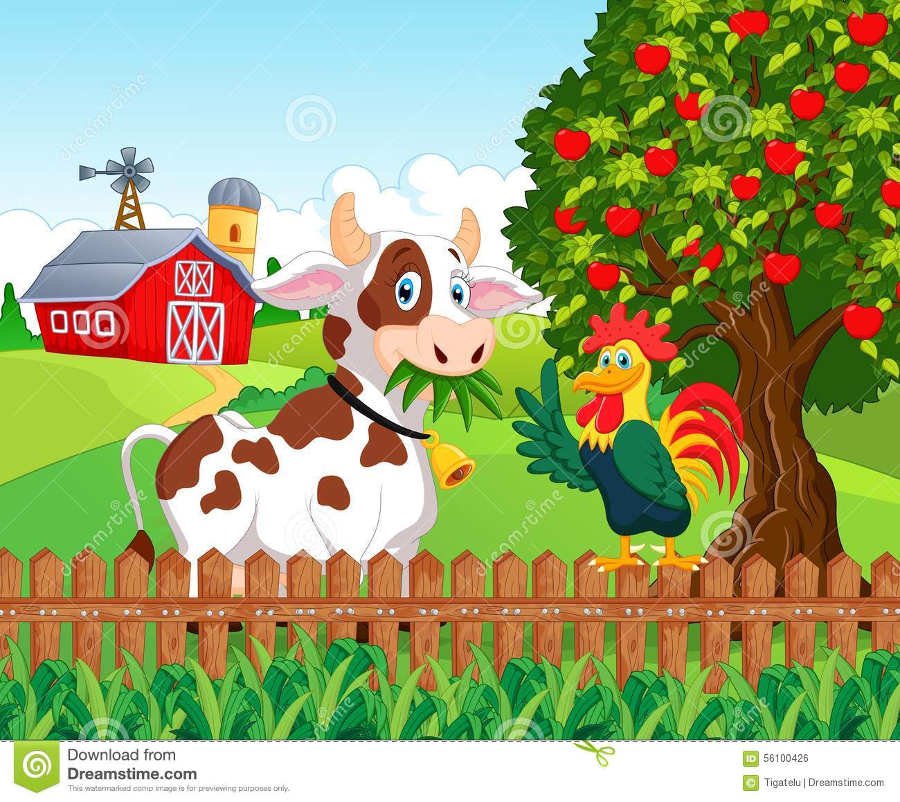 farm fence drawing. Cartoon Happy Cow And Chicken In The Farm Stock Vector . Fence Drawing N