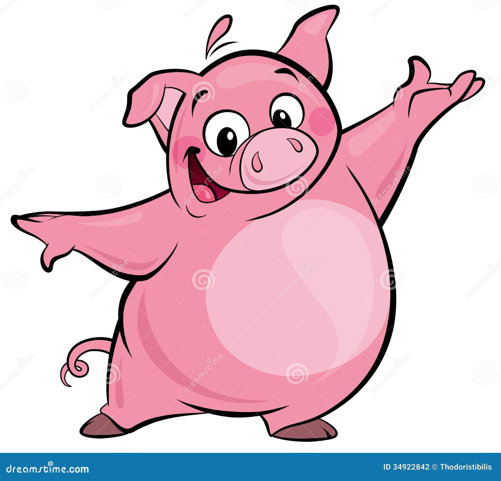 cartoon happy cute pink pig character presenting stock illustration