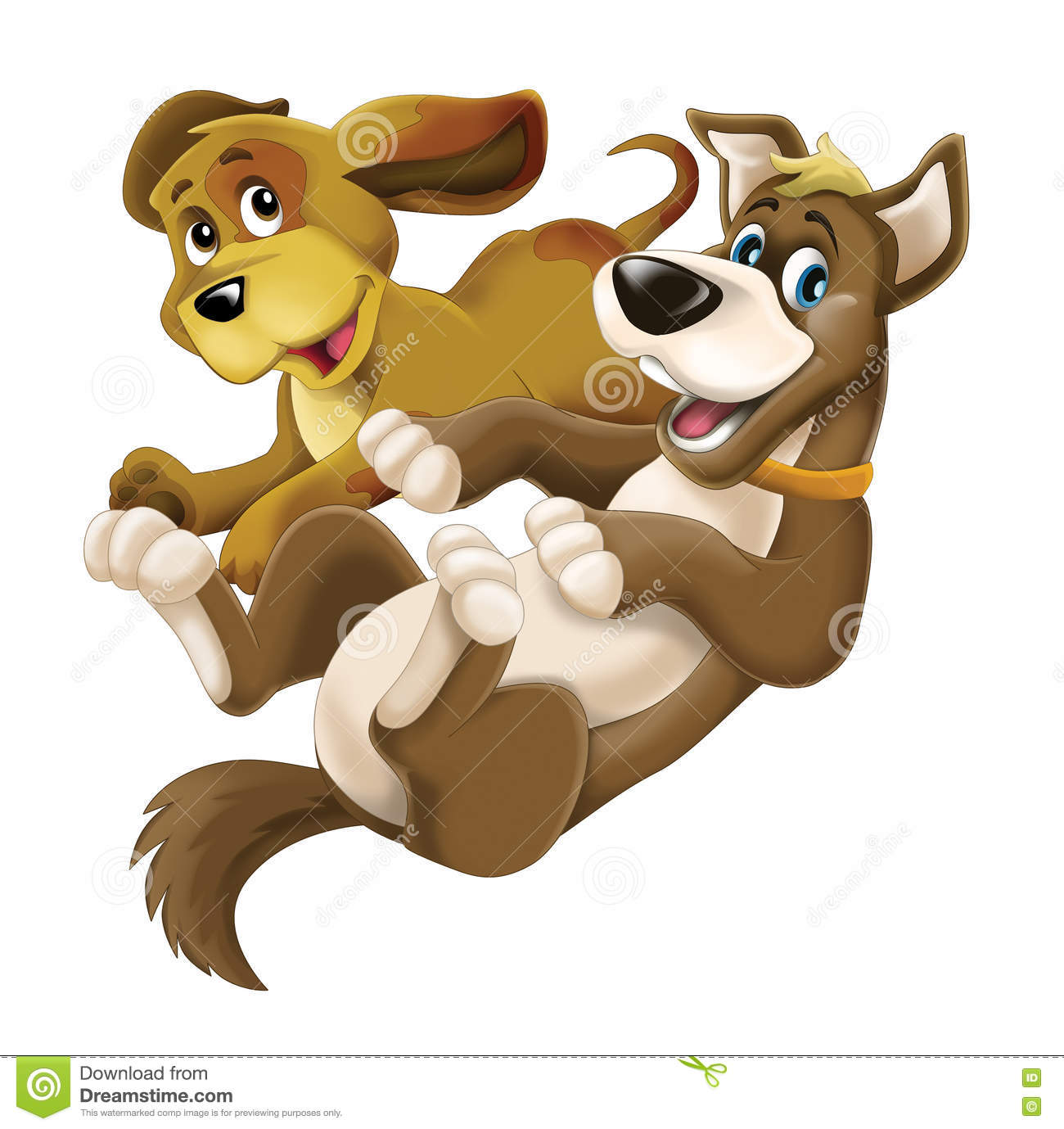 Cartoon Happy Dog Farm Animals Two Friend Dogs Isolated Stock Illustration Illustration Of Beautiful Different 78799650