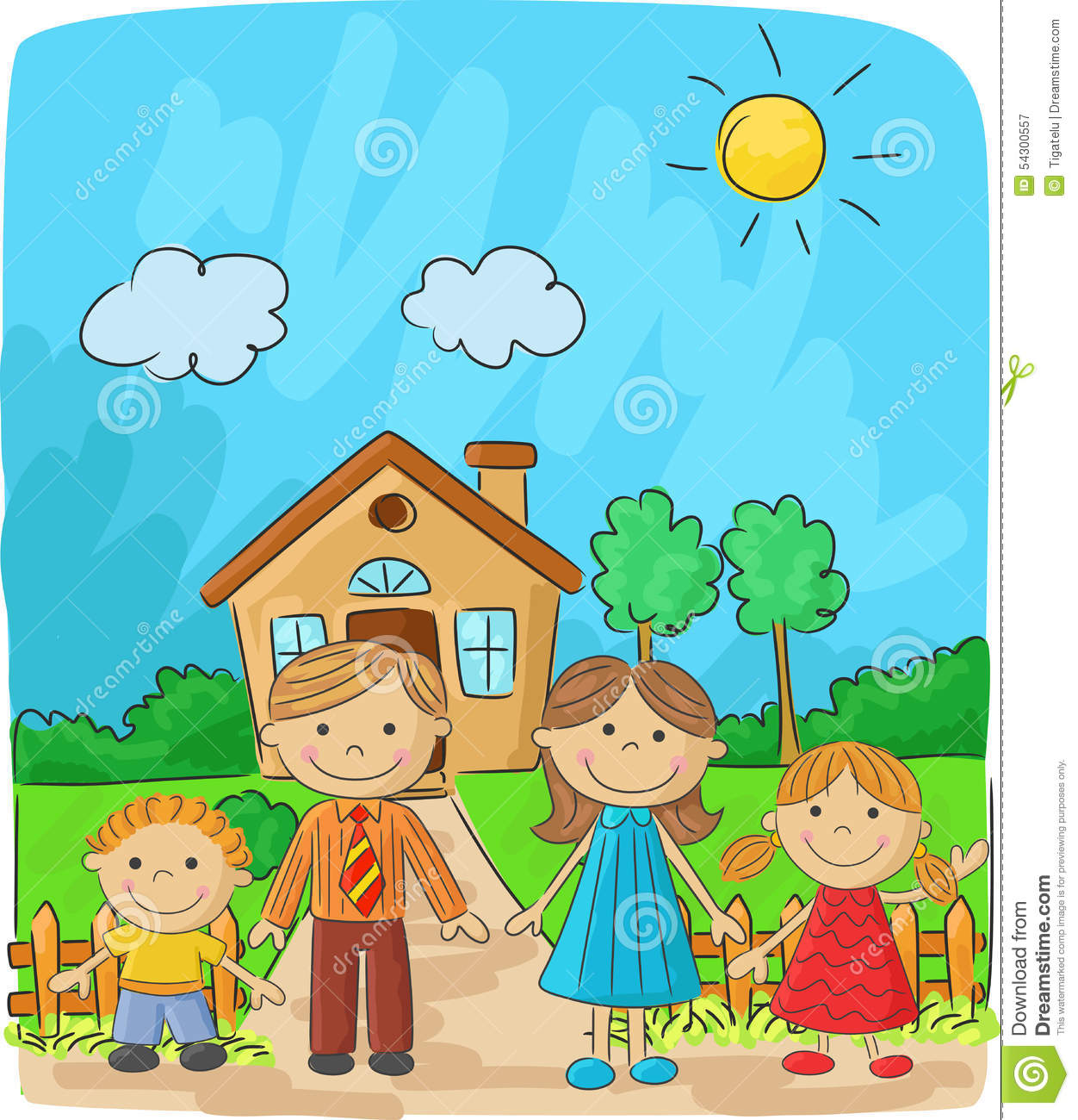 Mansion House Plans Cartoon Happy Family Against A Landscape And The House