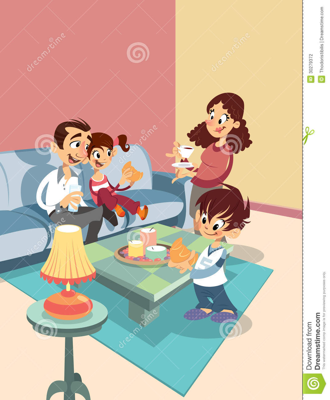 Cartoon Family At The Living-room Stock Photography - Image: 30279372