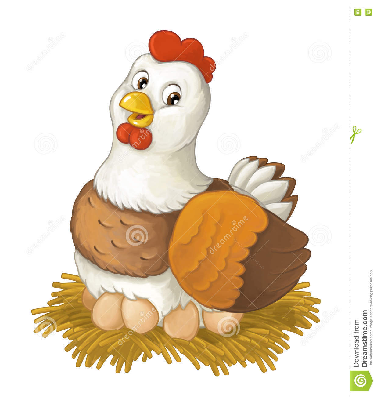 Cartoon Happy Farm Animal Cheerful Hen Is Sitting Smiling And