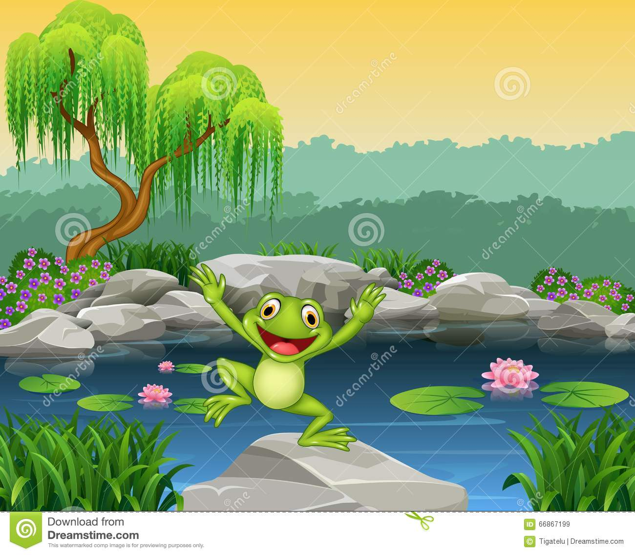 The jumping young frog cartoon vector illustration