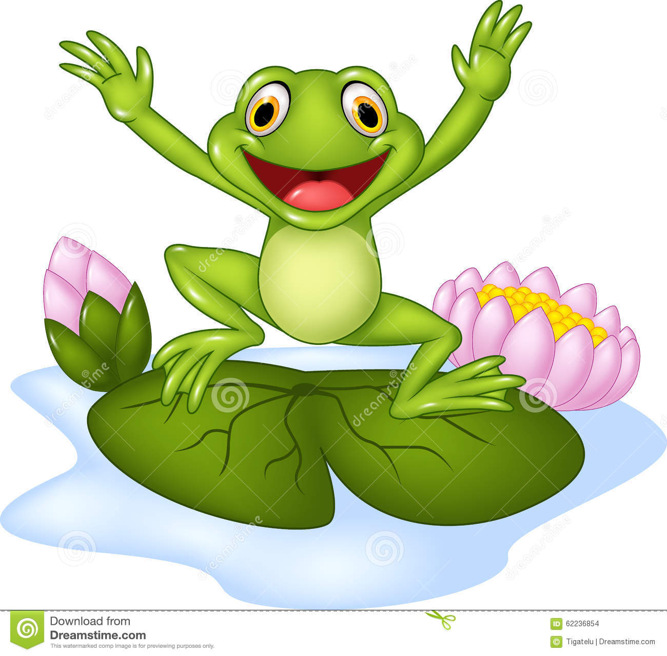 Cartoon Happy Frog Jumping On A Water Lily Stock Vector - Image ...