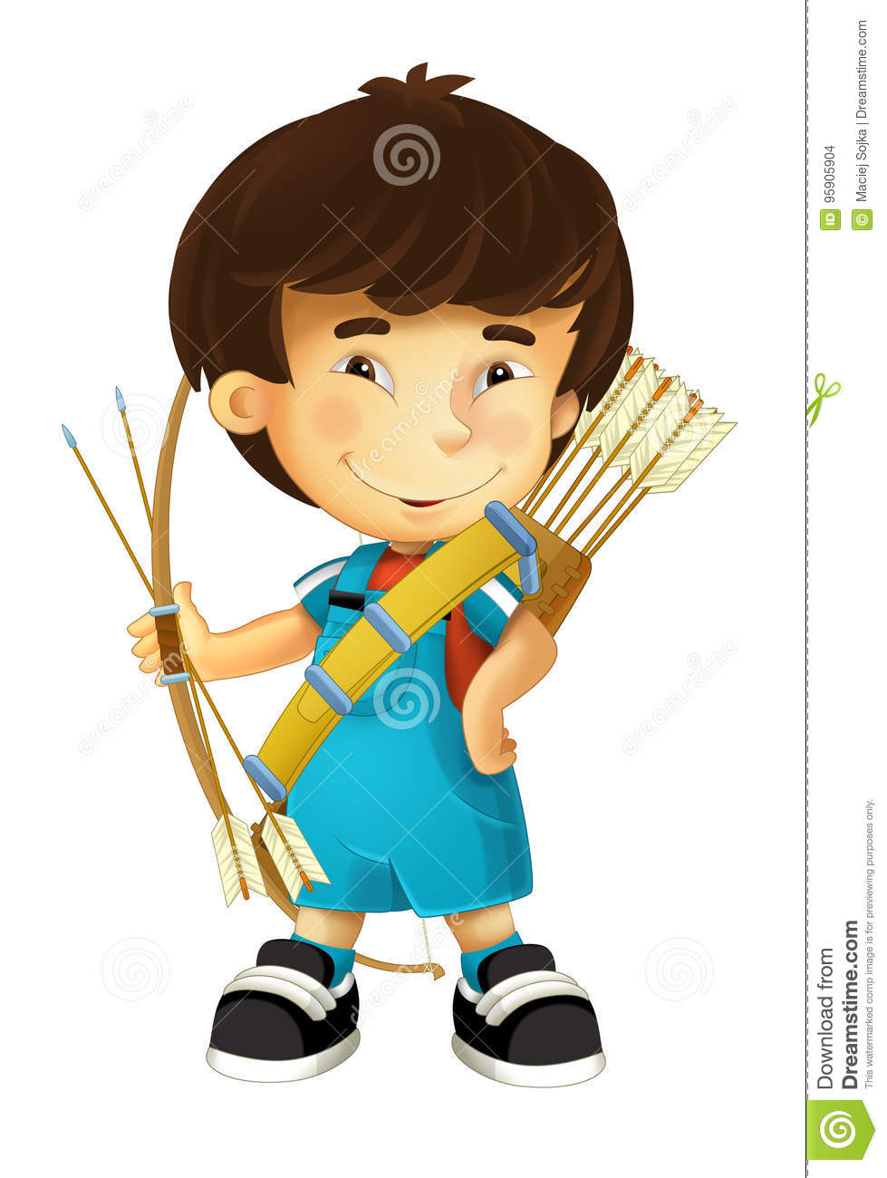 Cartoon Happy And Funny Boy - With Bow And Arrows - Archer ...