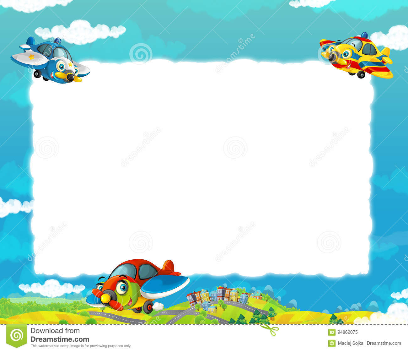 Cartoon happy and funny planes flying over some city / frame for different usage