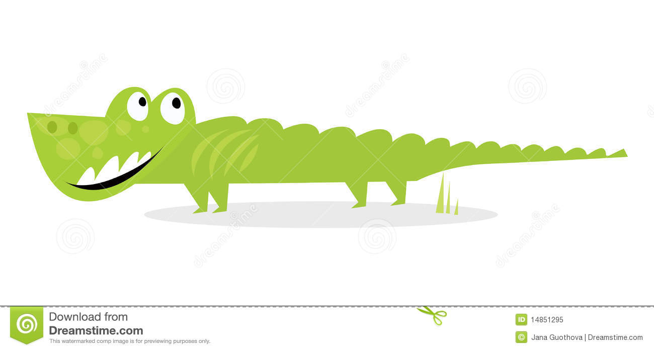 Cartoon happy green crocodile isolated on white