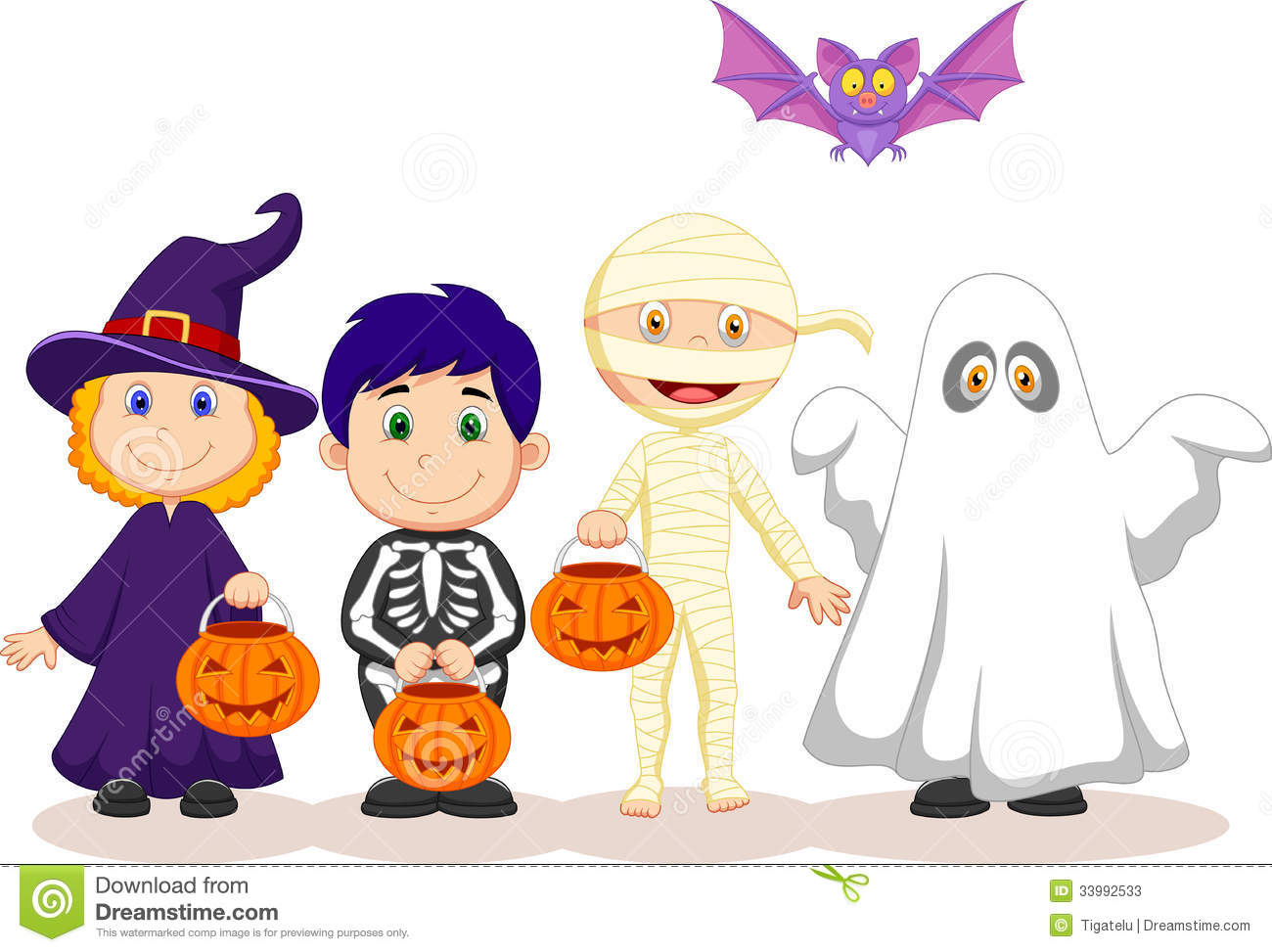 Cartoon Happy Halloween Party With Children Trick Or Treating ...