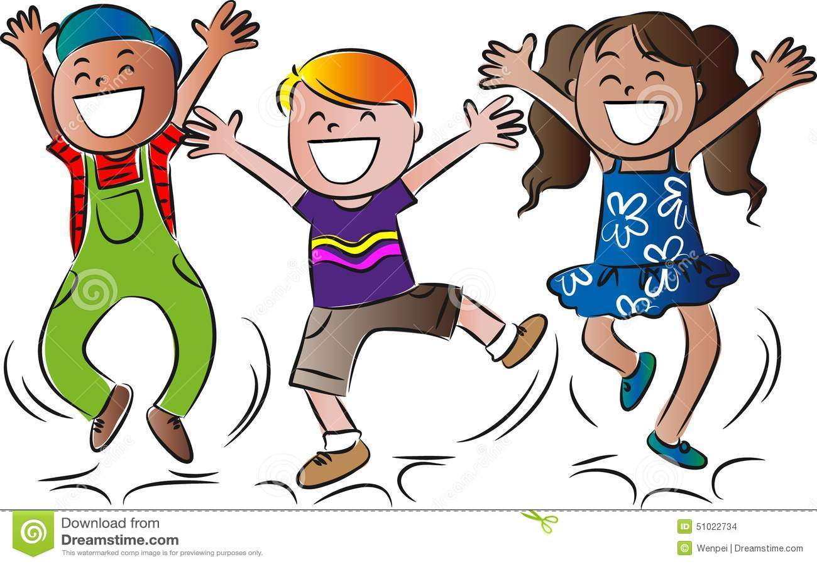 Cartoon happy jumping kids stock illustration ...