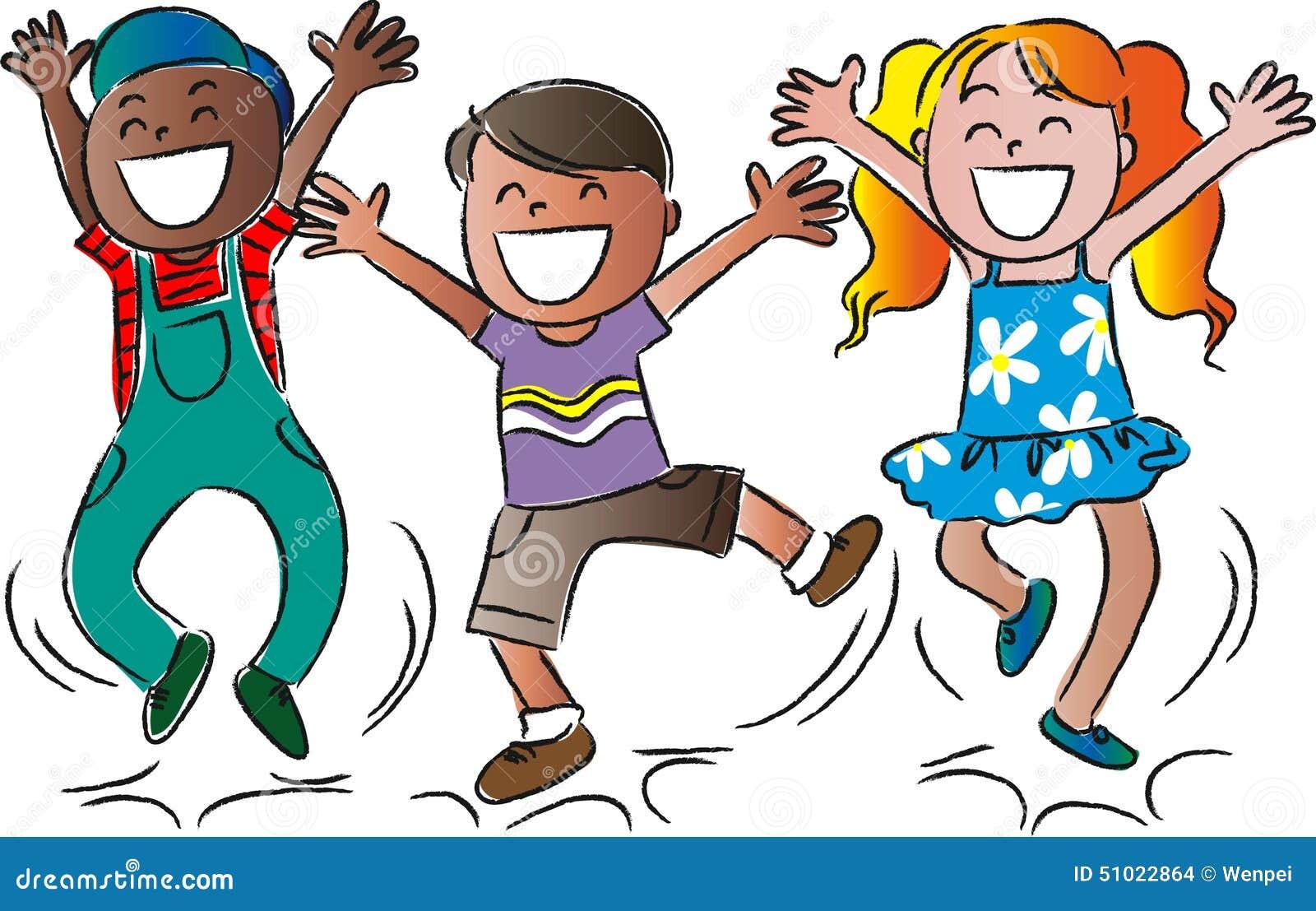 Cartoon happy jumping kids stock illustration. Image of ...  Jumping