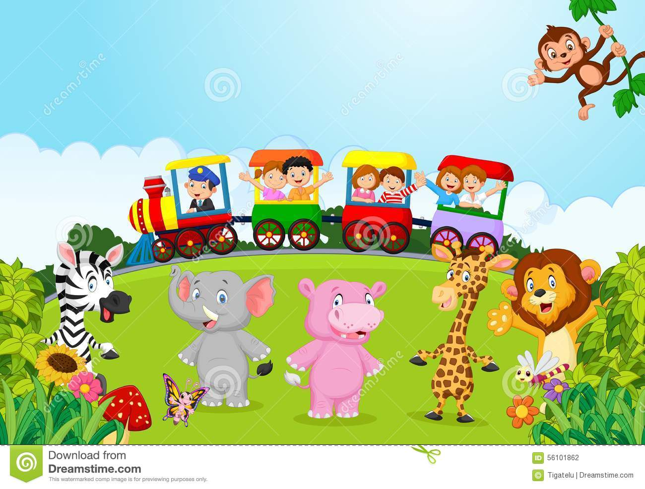 Cartoon Happy Kids On A Colorful Train With Animal Stock