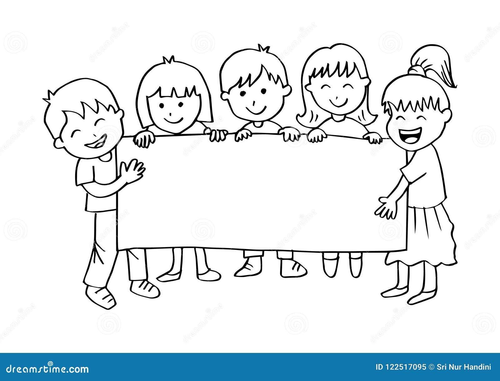 Cartoon Happy Kids Holding Banner. Stock Vector ...