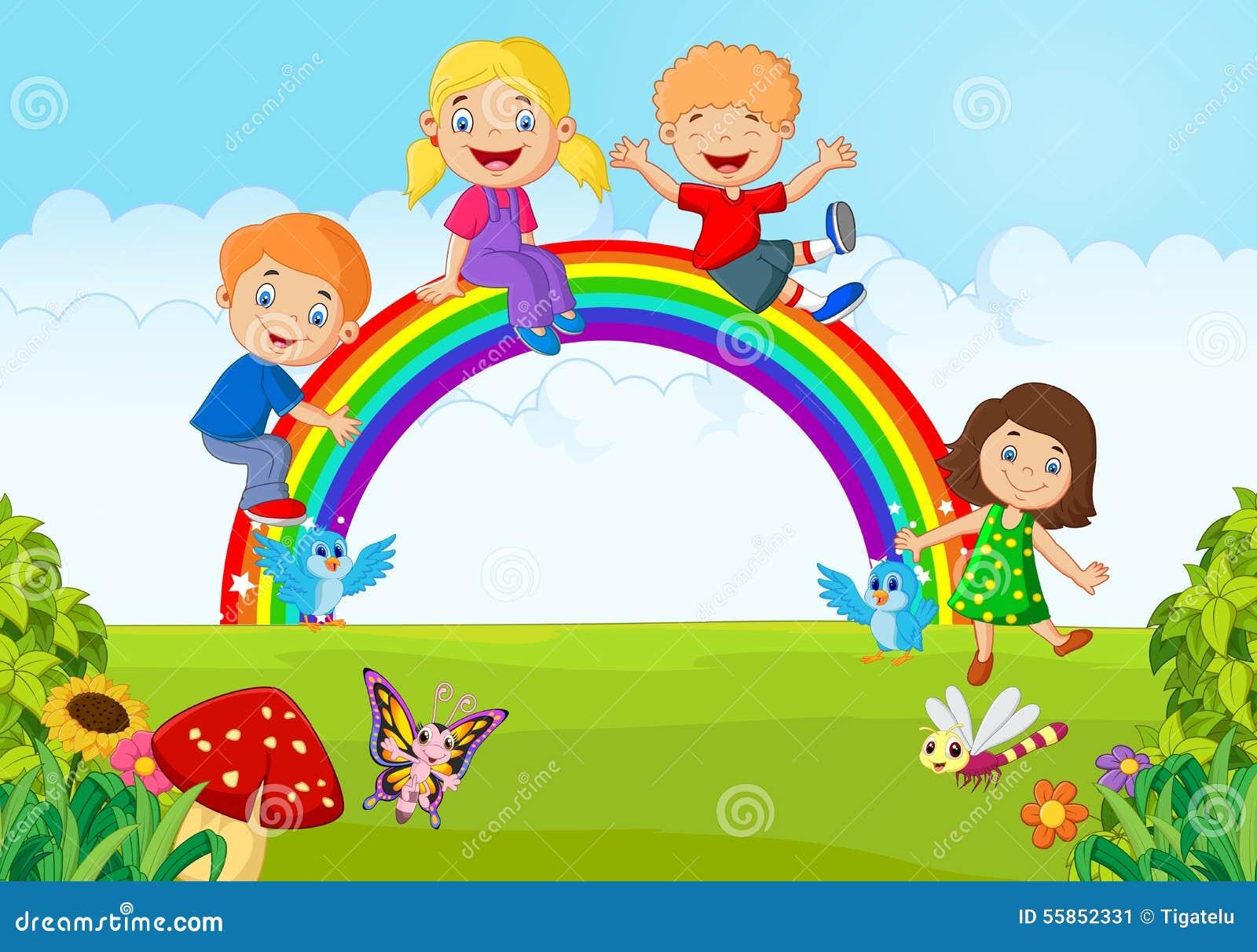 Dibujos Animados De Niños Felices Y Payaso En El Parque: Cartoon Happy Kids Sitting Rainbow Stock Illustrations