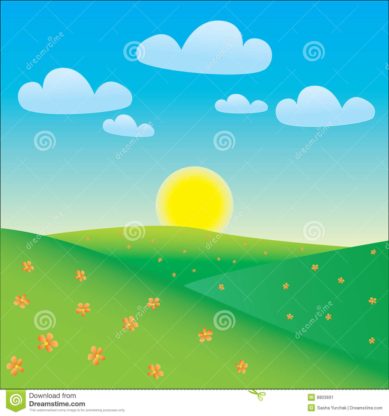 Cartoon Happy Landscape Stock Image