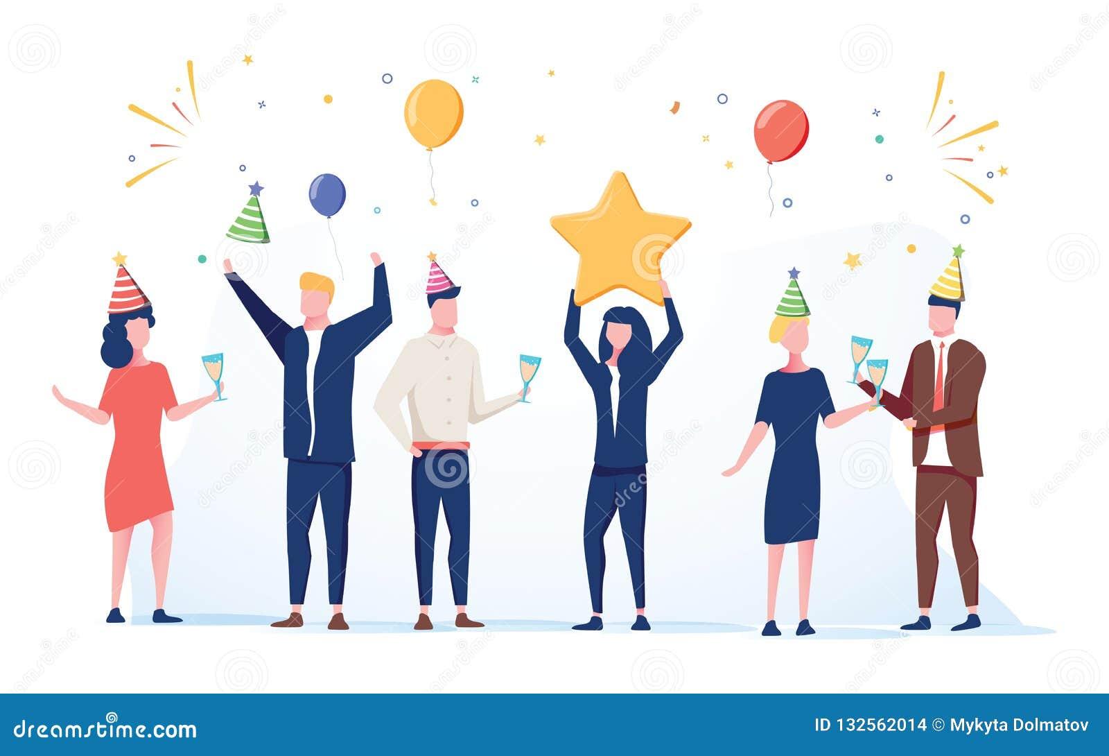 Cartoon Happy Little People. Cute Miniature Scene Of Workers Preparing For  Celebration. Modern Cartoon Illustration. Stock Vector - Illustration of  background, celebration: 132562014