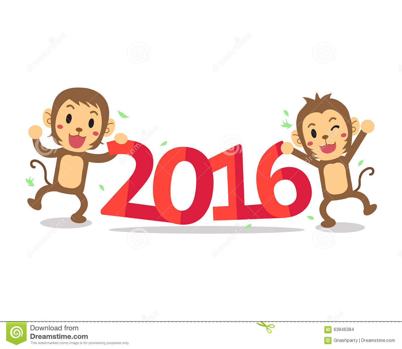 Cartoon Characters 2016 : Cartoon happy new monkey year stock vector image