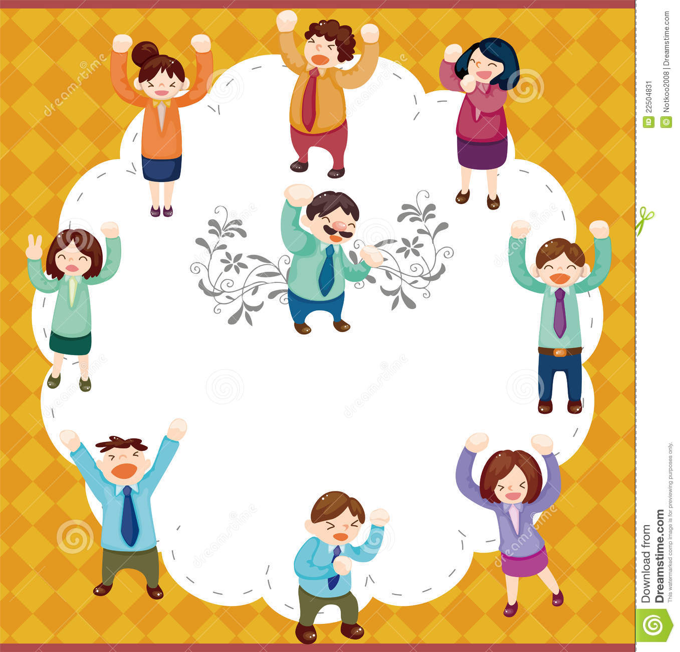 Cartoon Happy Office Workers Card Stock Image Image