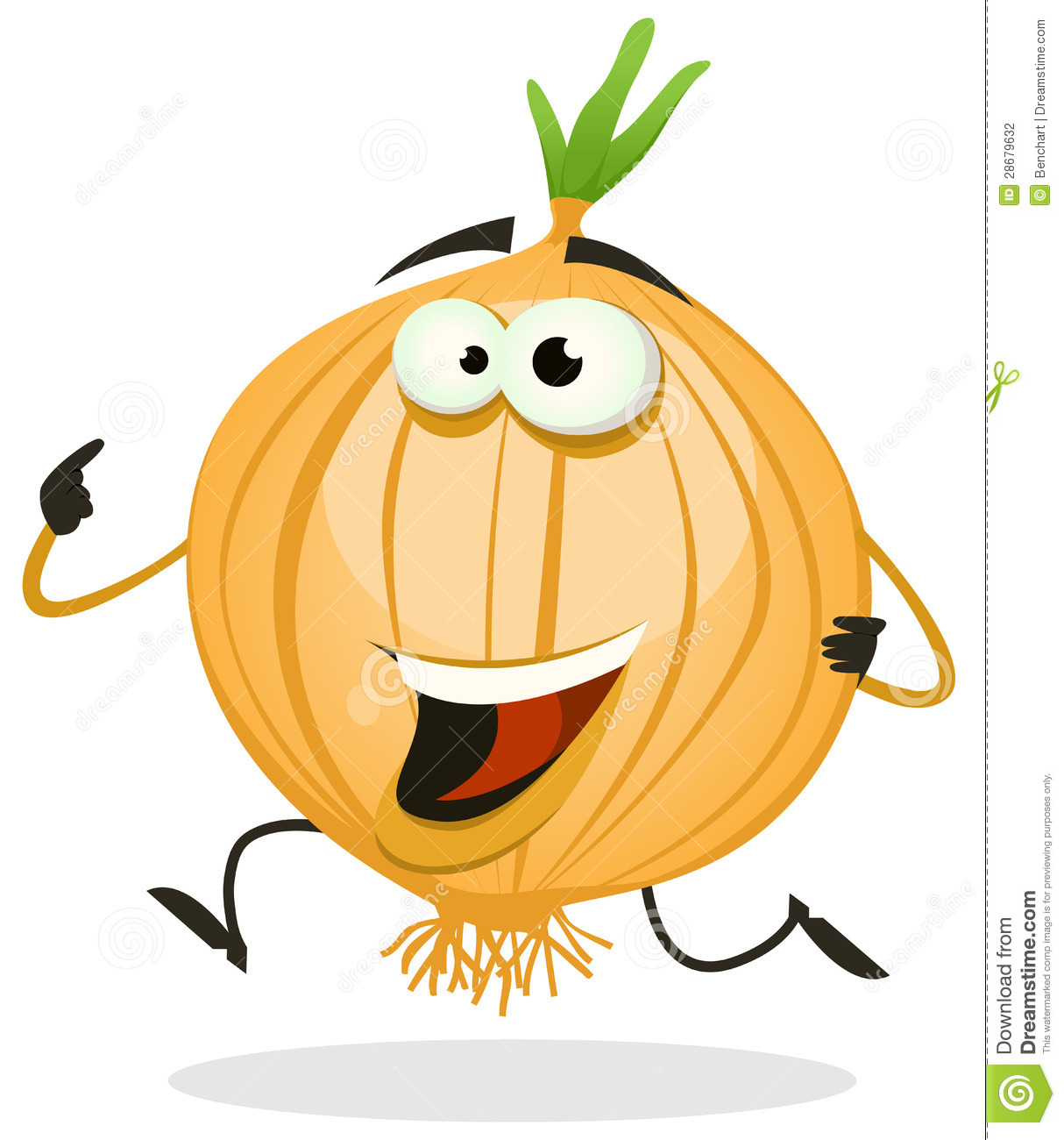 Illustration of a funny happy cartoon onion or shallot vegetable ...