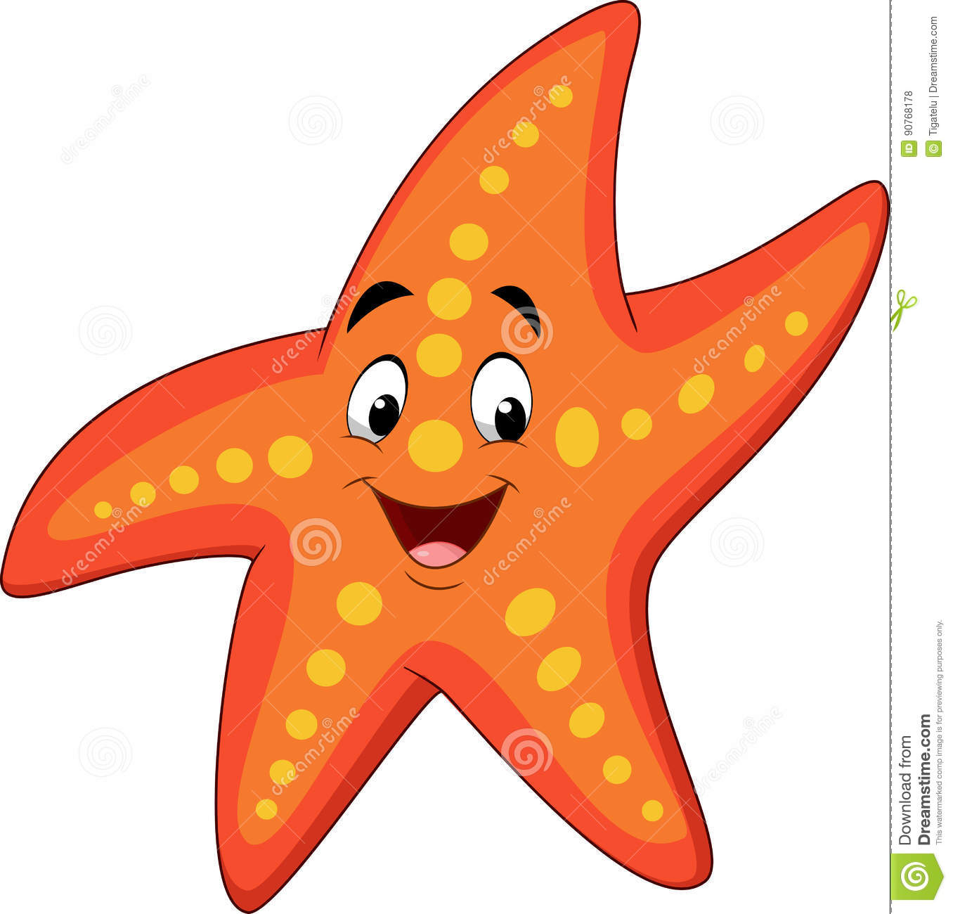 cartoon happy starfish stock vector illustration of space 90768178 rh dreamstime com clipart starfish black and white clipart starfish borders