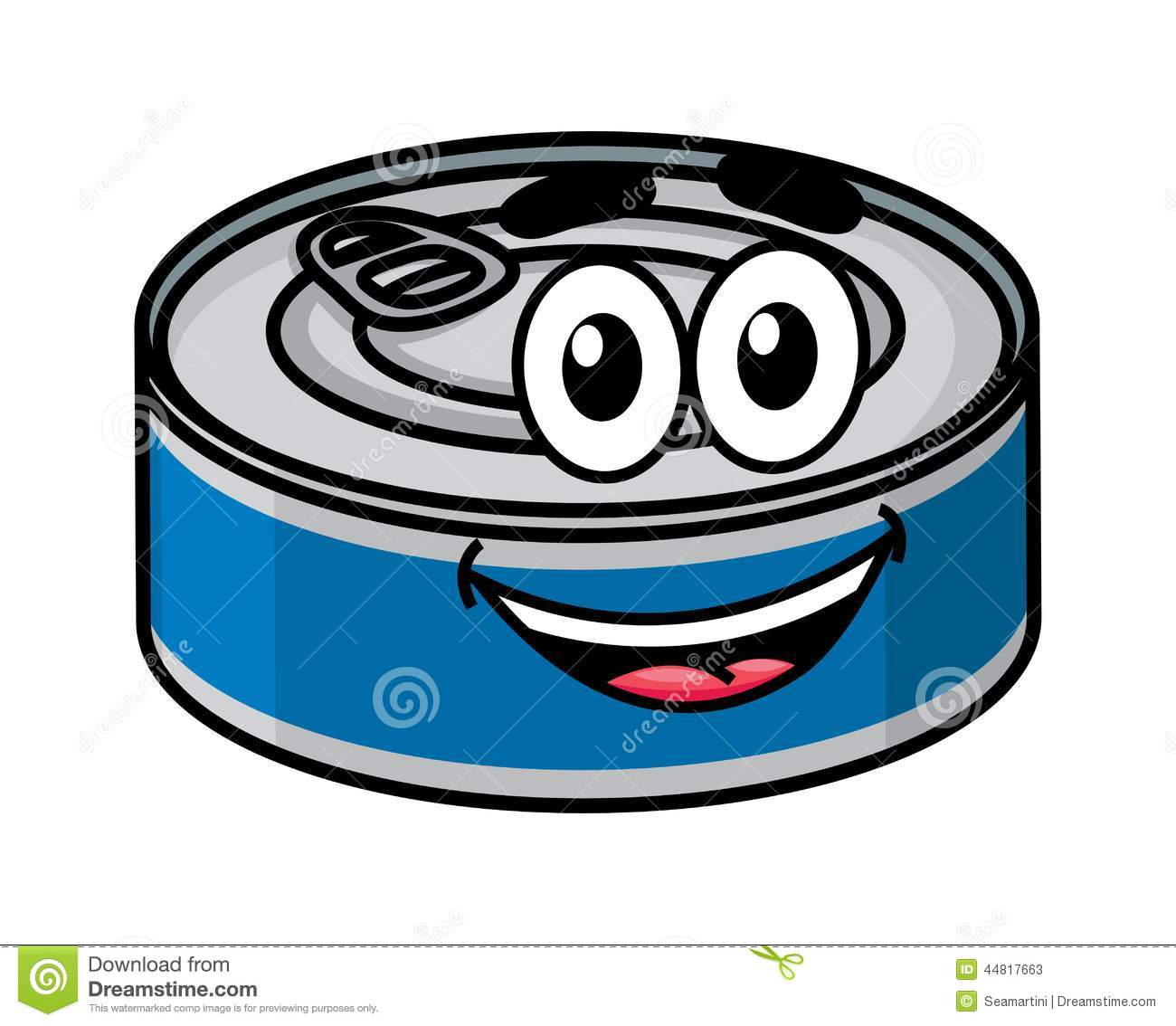 Cartoon happy cute tin can character isolated on white background.