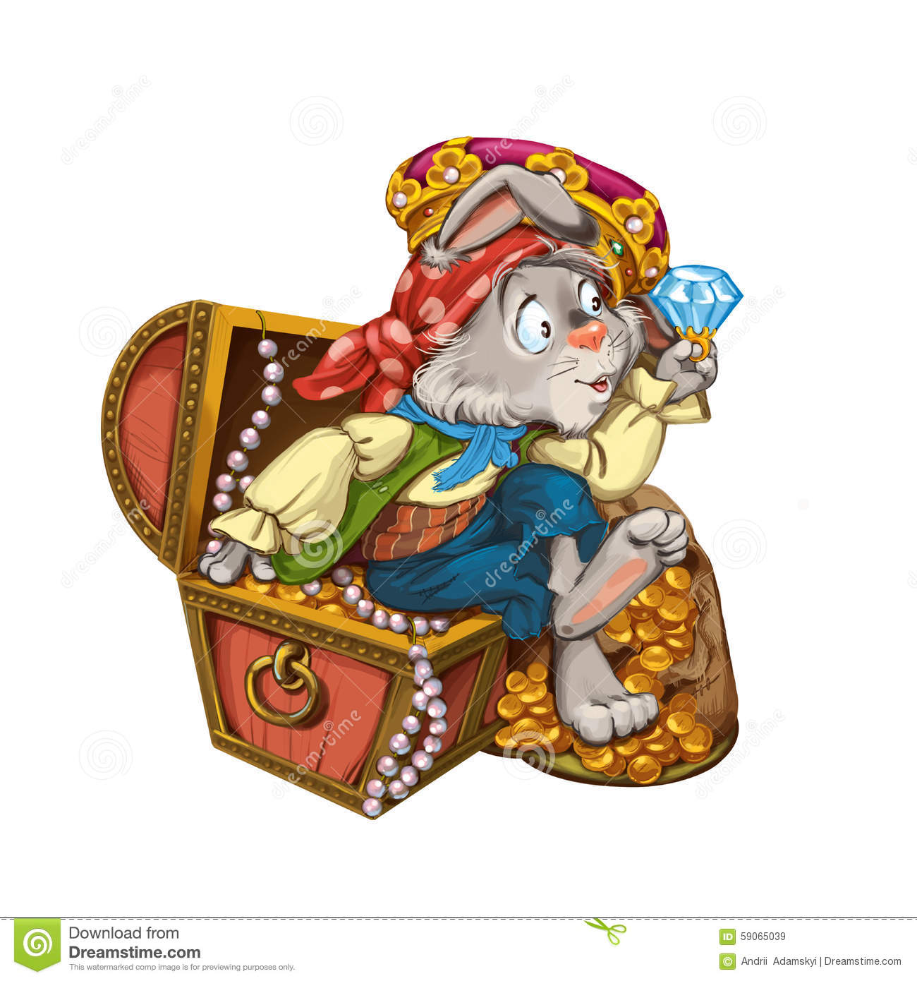 cartoon hare pirate sits on a chest with jewelry stock illustration