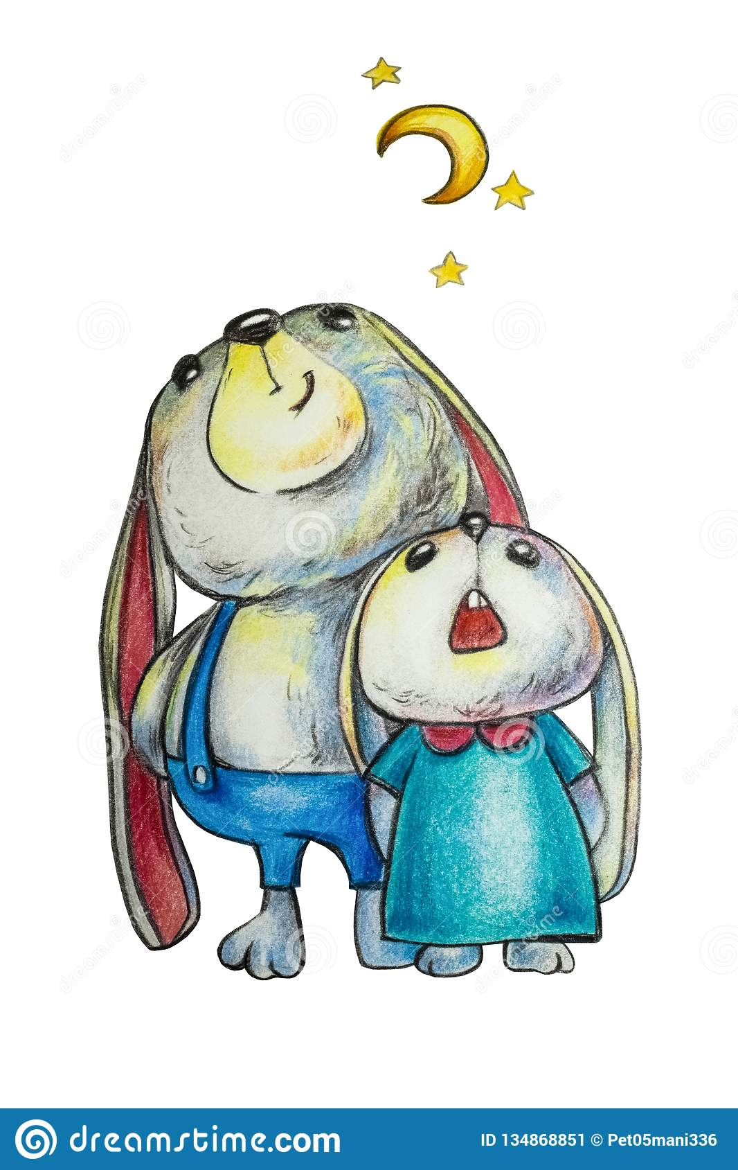 Cartoon hares, dad and daughter look at the starry sky and the moon