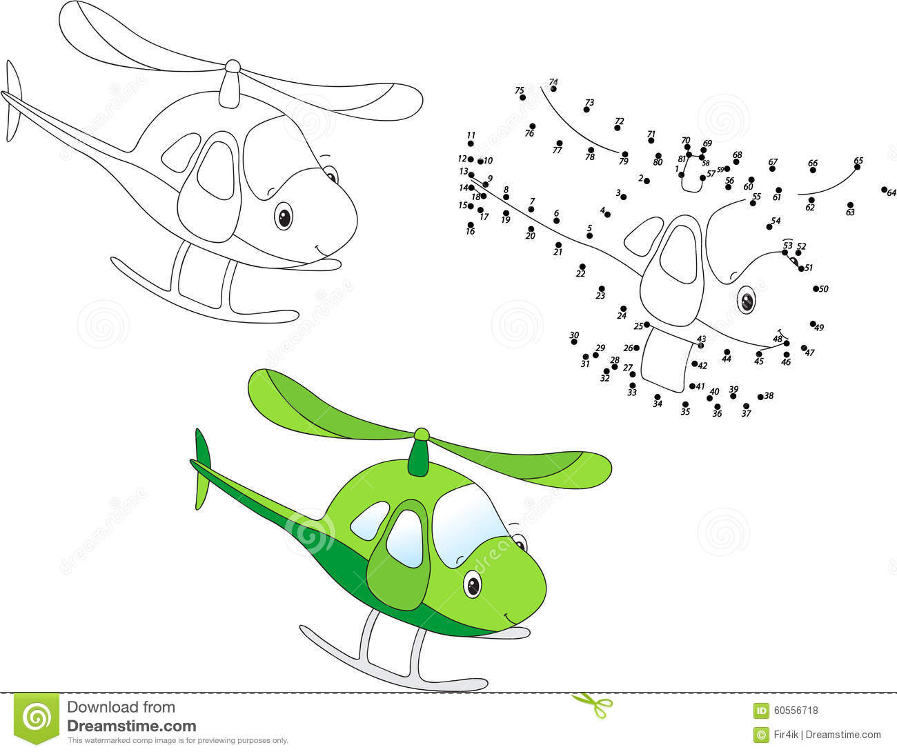 Cartoon Helicopter. Vector Illustration. Coloring And Dot To Dot ...