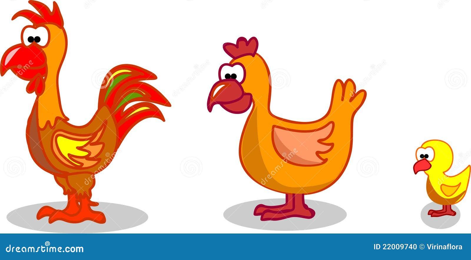 Cartoon Hen Rooster Chicken,vector Stock Photo