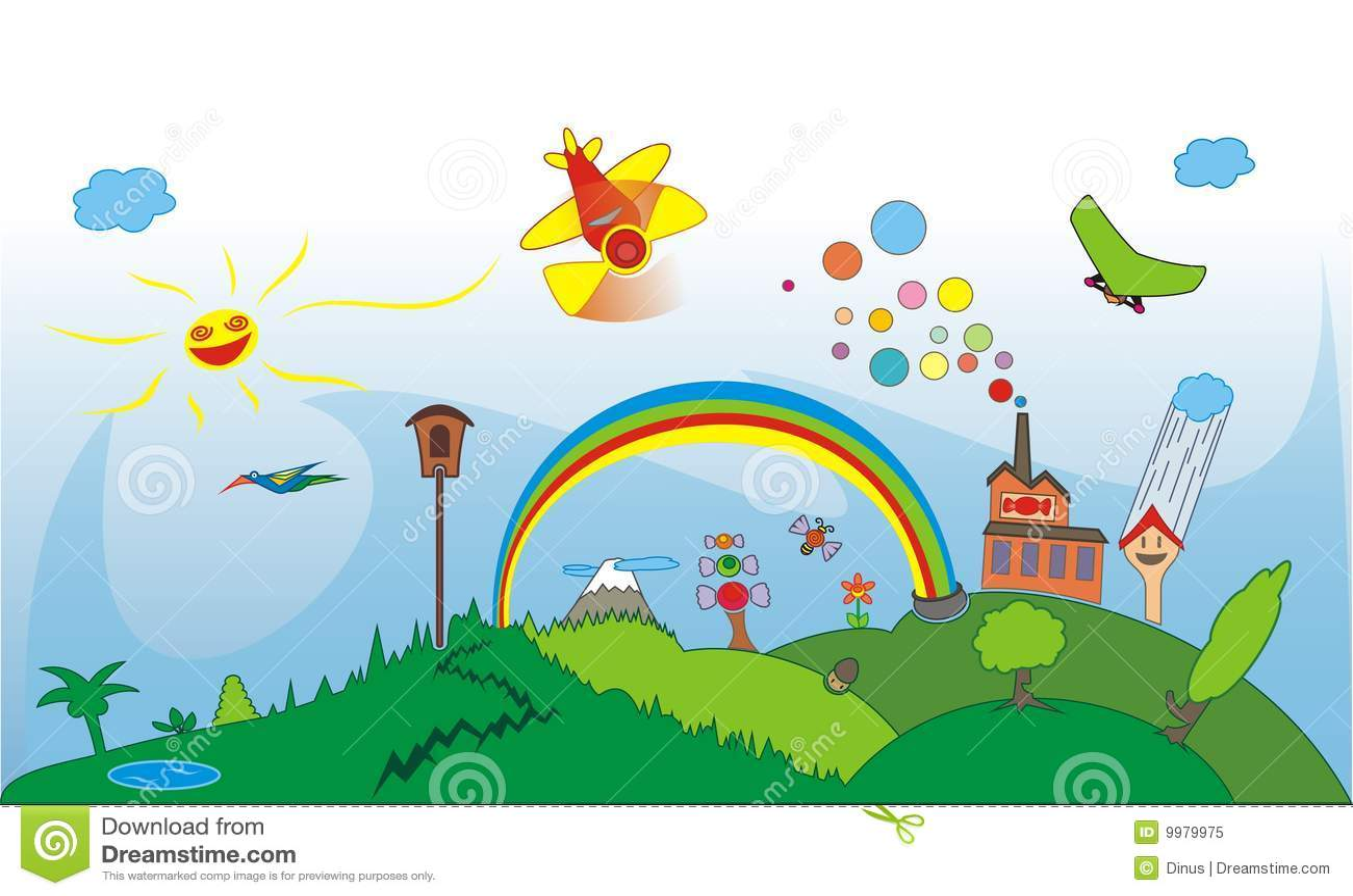 Cartoon Hills Stock Vector Illustration Of House Drum