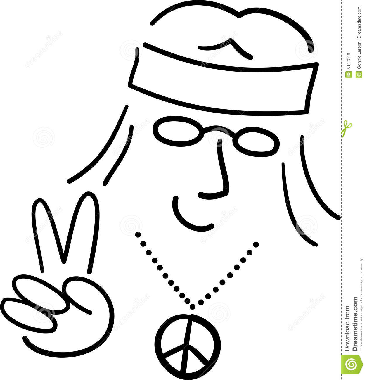 Cartoon Hippie Peace Dude/ai Royalty Free Stock Image - Image: 5197296