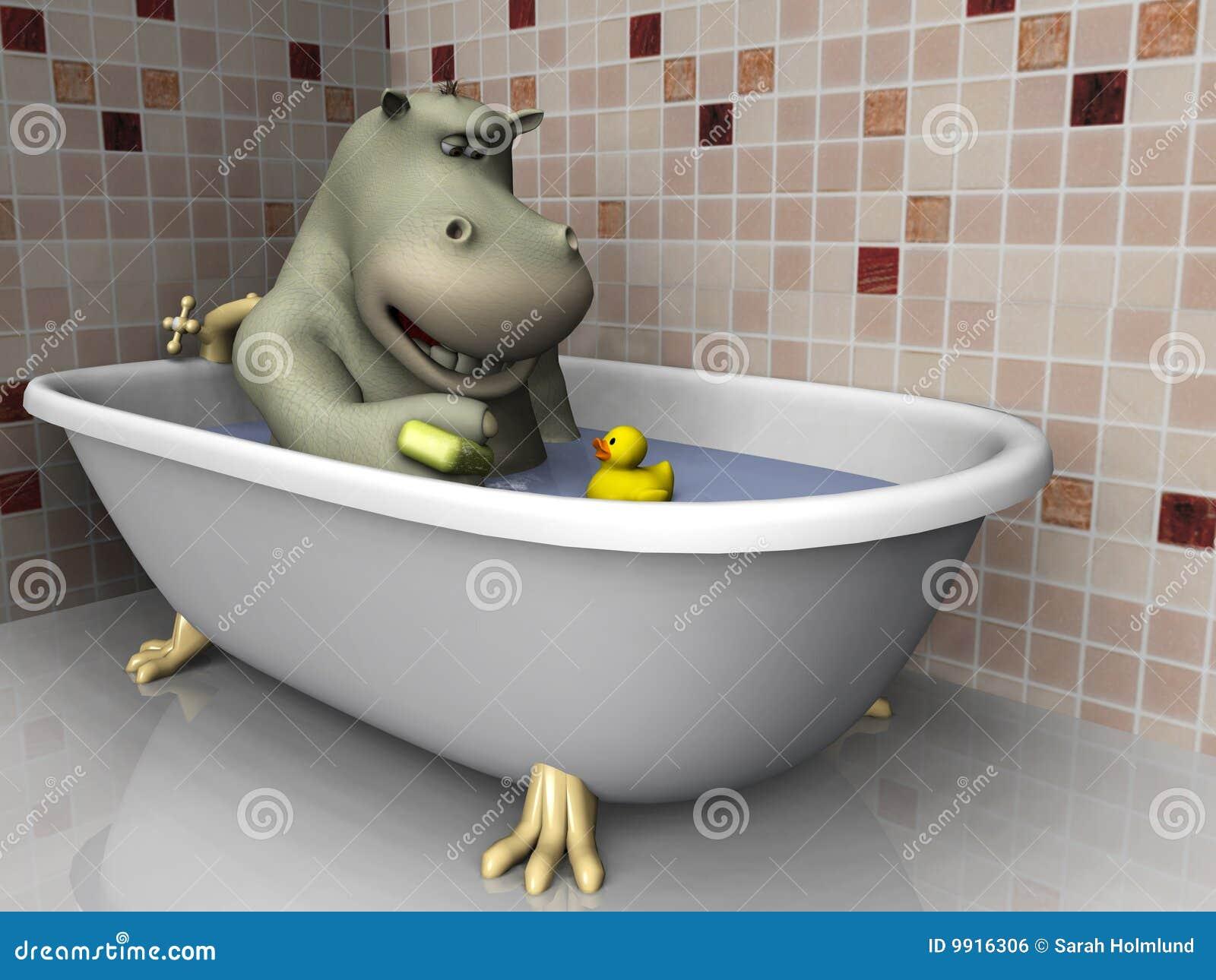 Beautiful Cartoon Hippo In Bathtub. Stock Illustration. Illustration Of Rubber    9916306