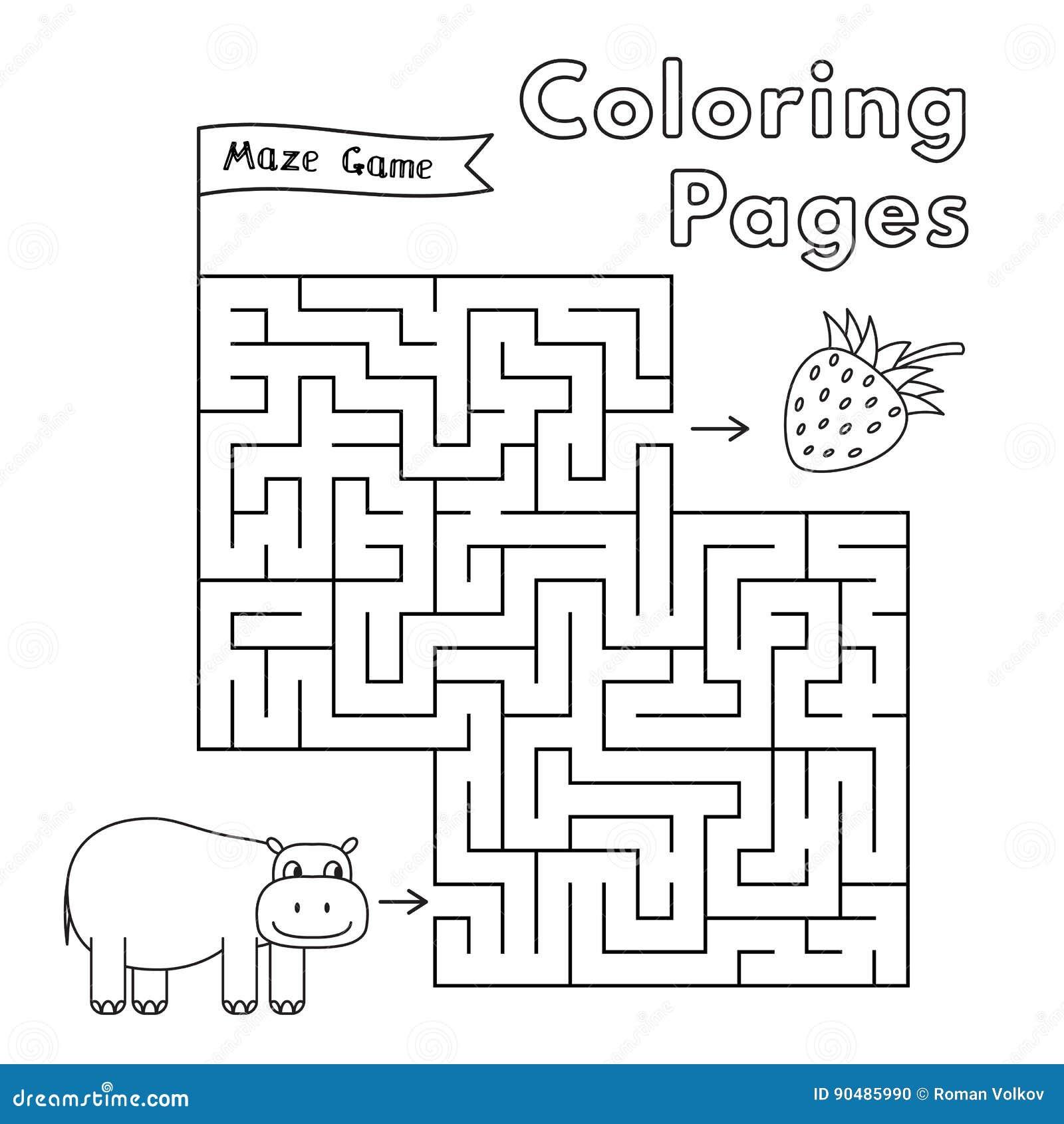 cartoon hippo maze game stock vector image 90485990