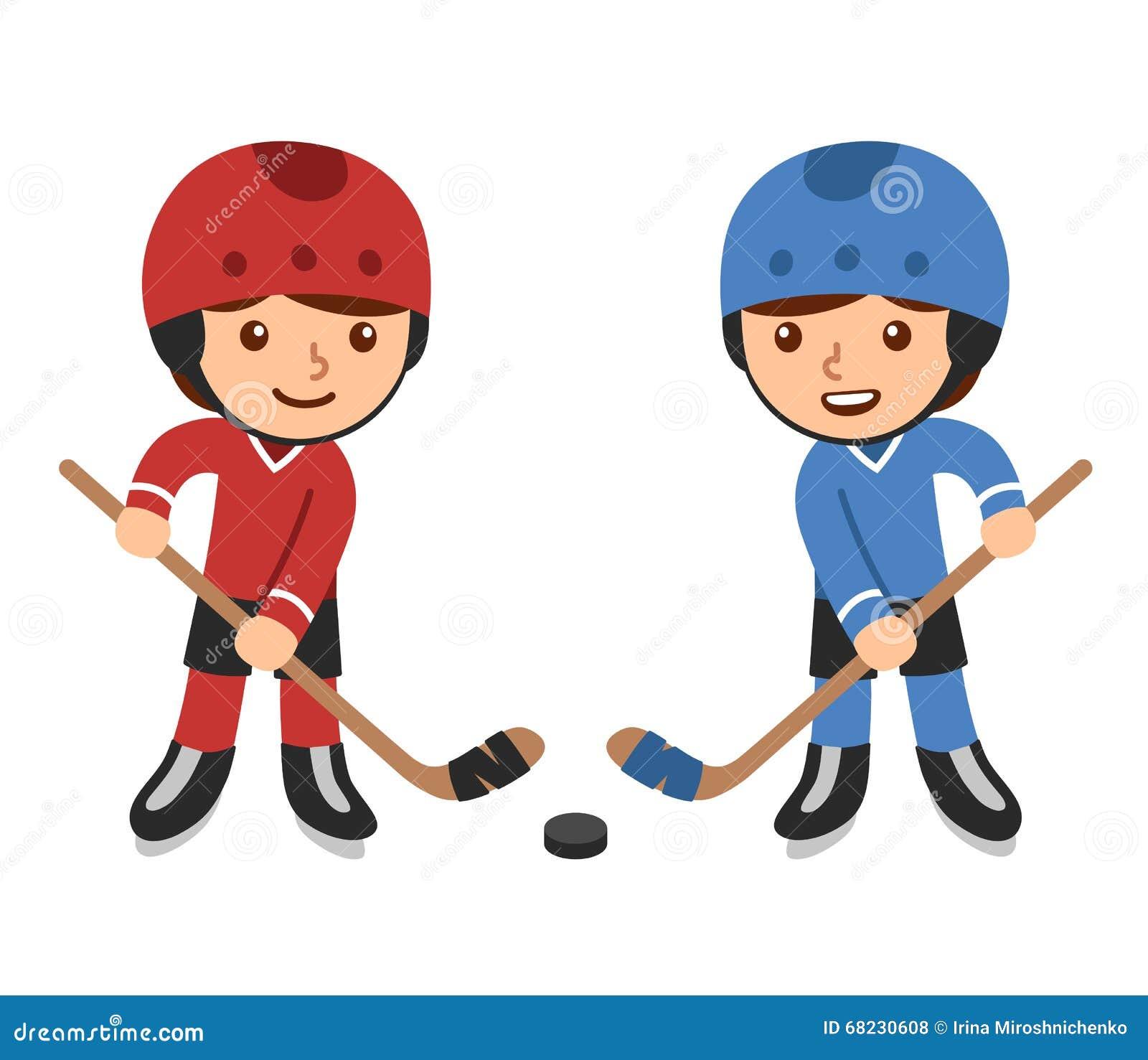 Cartoon Hockey Players Stock Vector Illustration Of Little 68230608