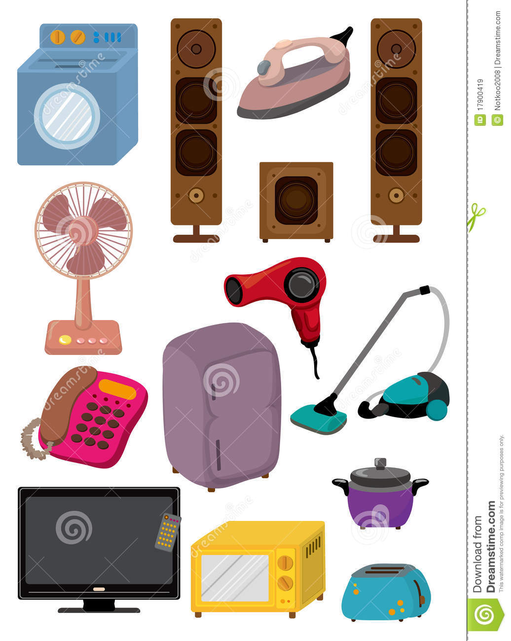 cartoon home appliance icon stock vector illustration of collection character 17900419. Black Bedroom Furniture Sets. Home Design Ideas