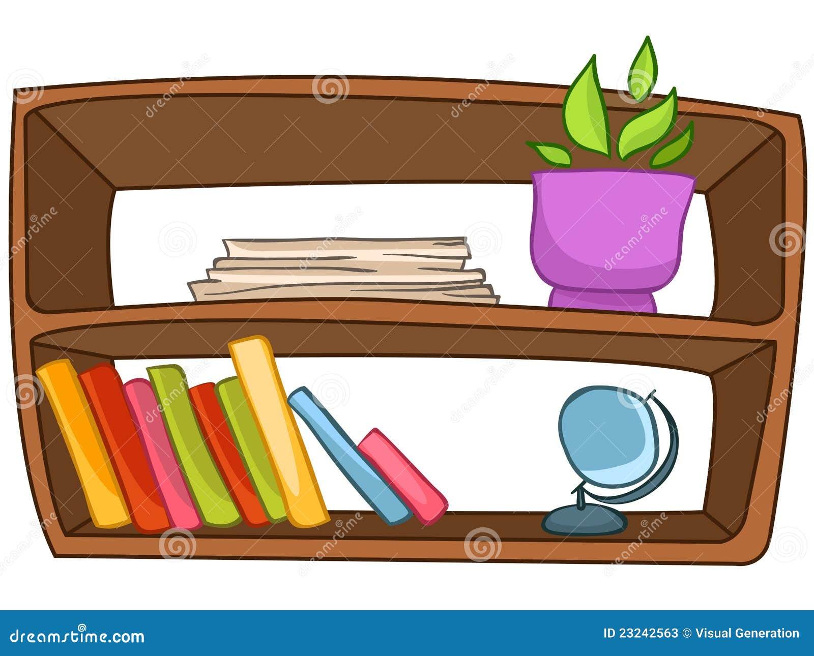 Cartoon Home Furniture Book Shelf Stock Vector
