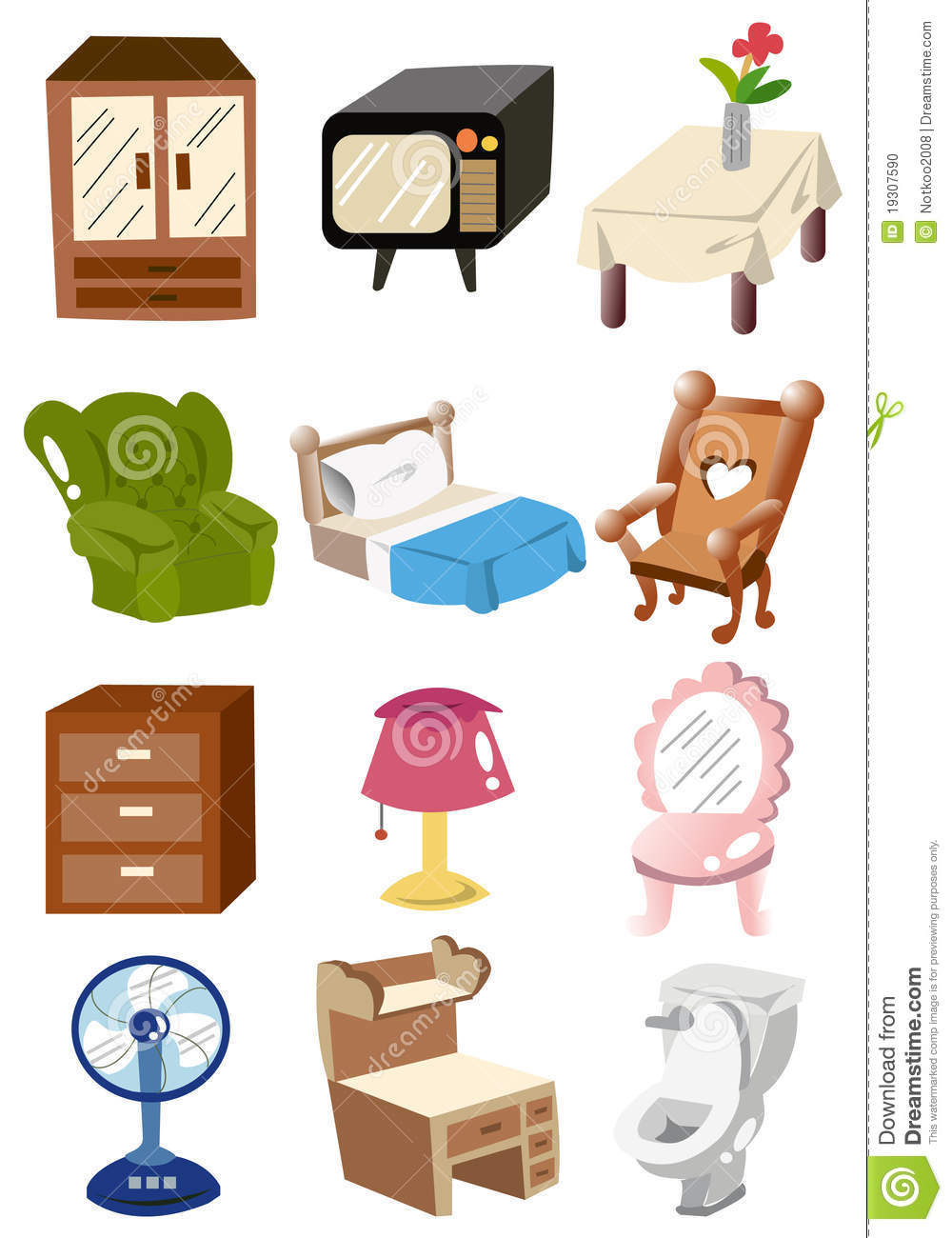 Cartoon home furniture icon stock vector illustration of for House furniture pictures