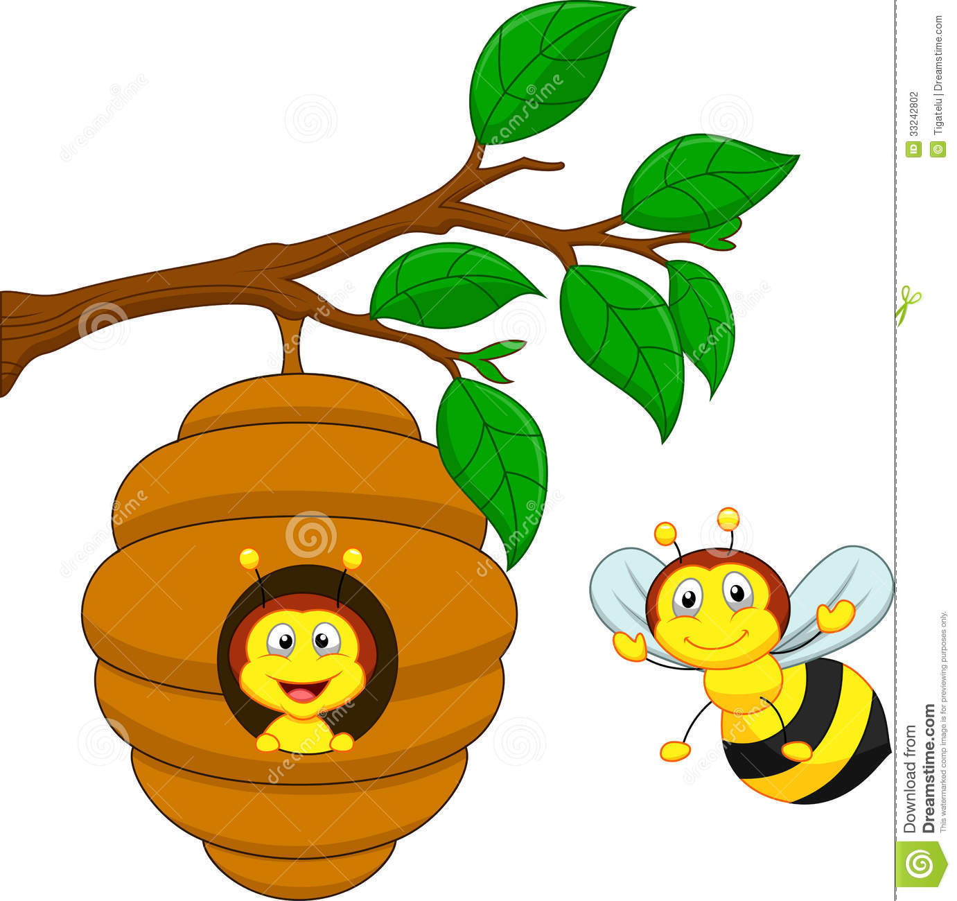 Cartoon A Honey Bee And Comb Stock Photography Image