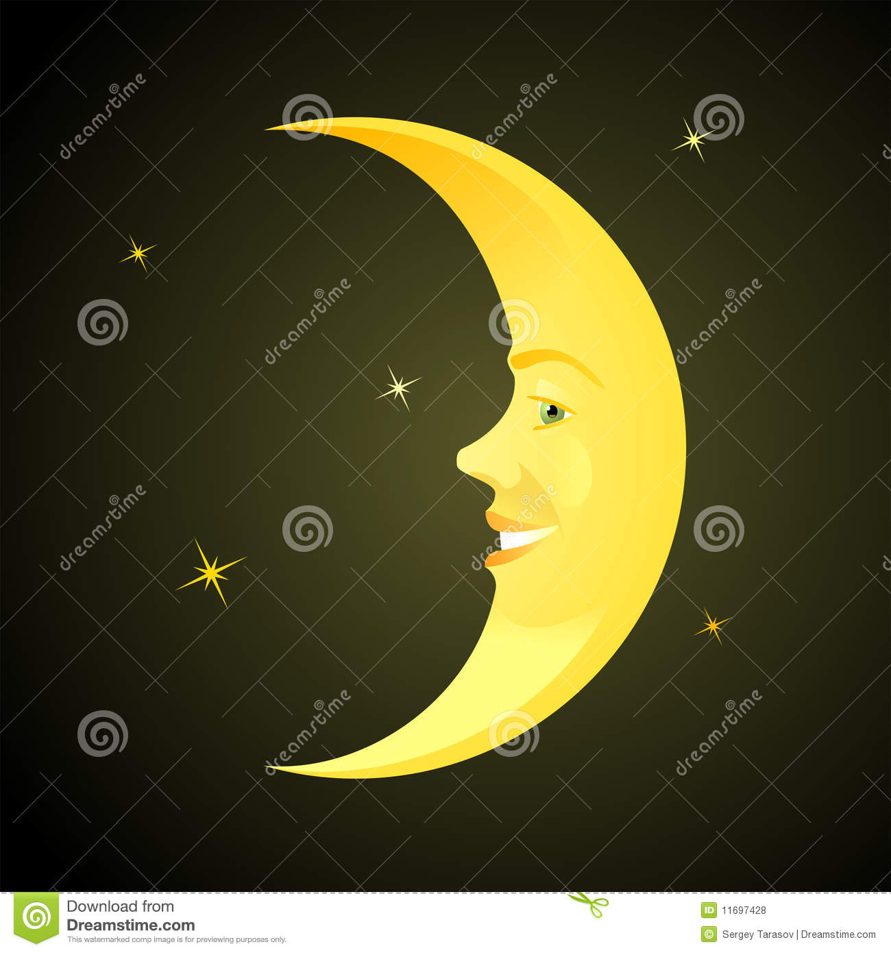 Cartoon Horned Moon Royalty Free Stock Photos Image